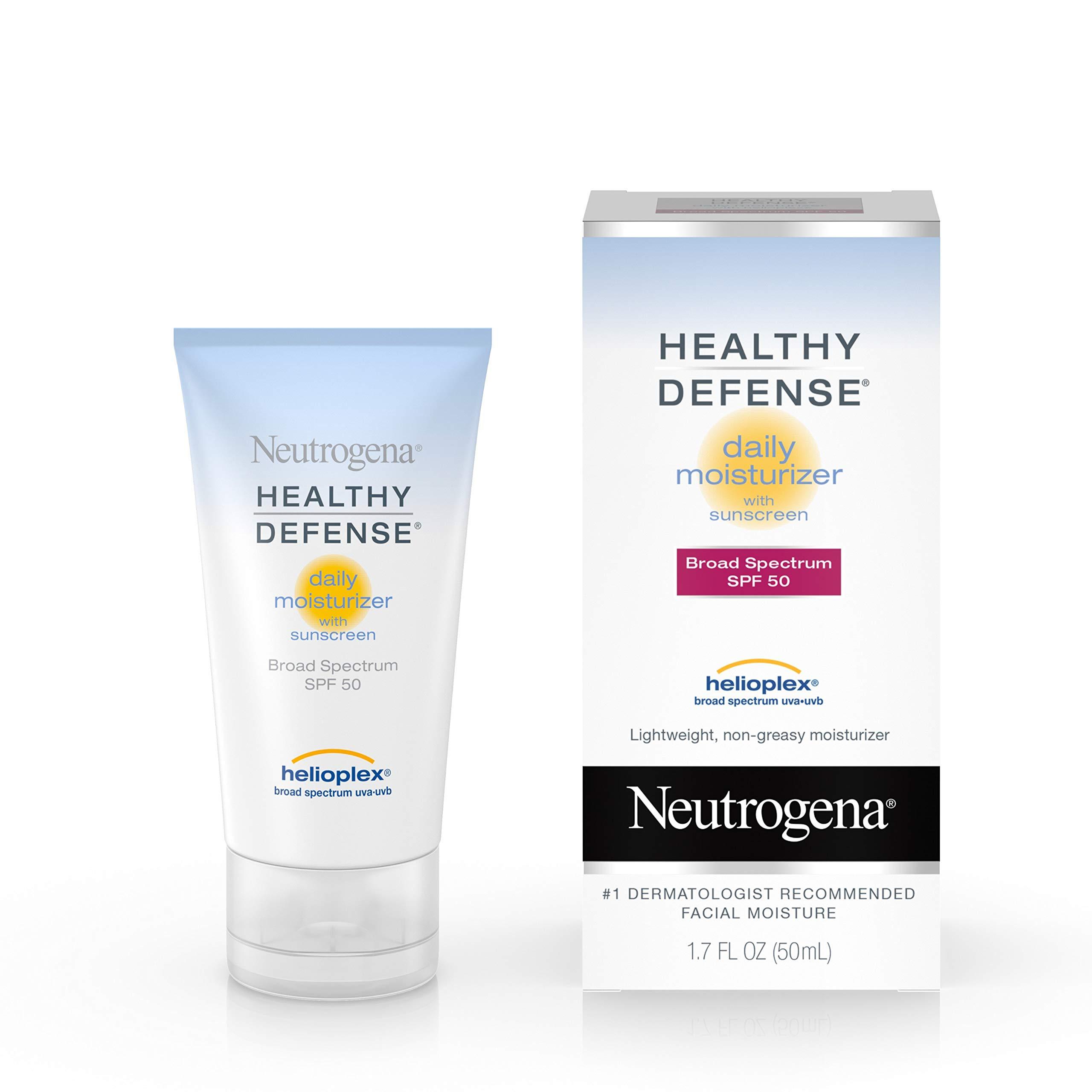 Neutrogena Healthy Defense Daily Moisturizer with Broad Spectrum SPF 50 Sunscreen, Vitamin E & Anti-Oxidants, Lightweight, Non-Greasy & Hypoallergenic, 1.7 fl. oz