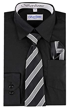 Amazon Berlioni Boys Dress Shirt Necktie And Hanky Set