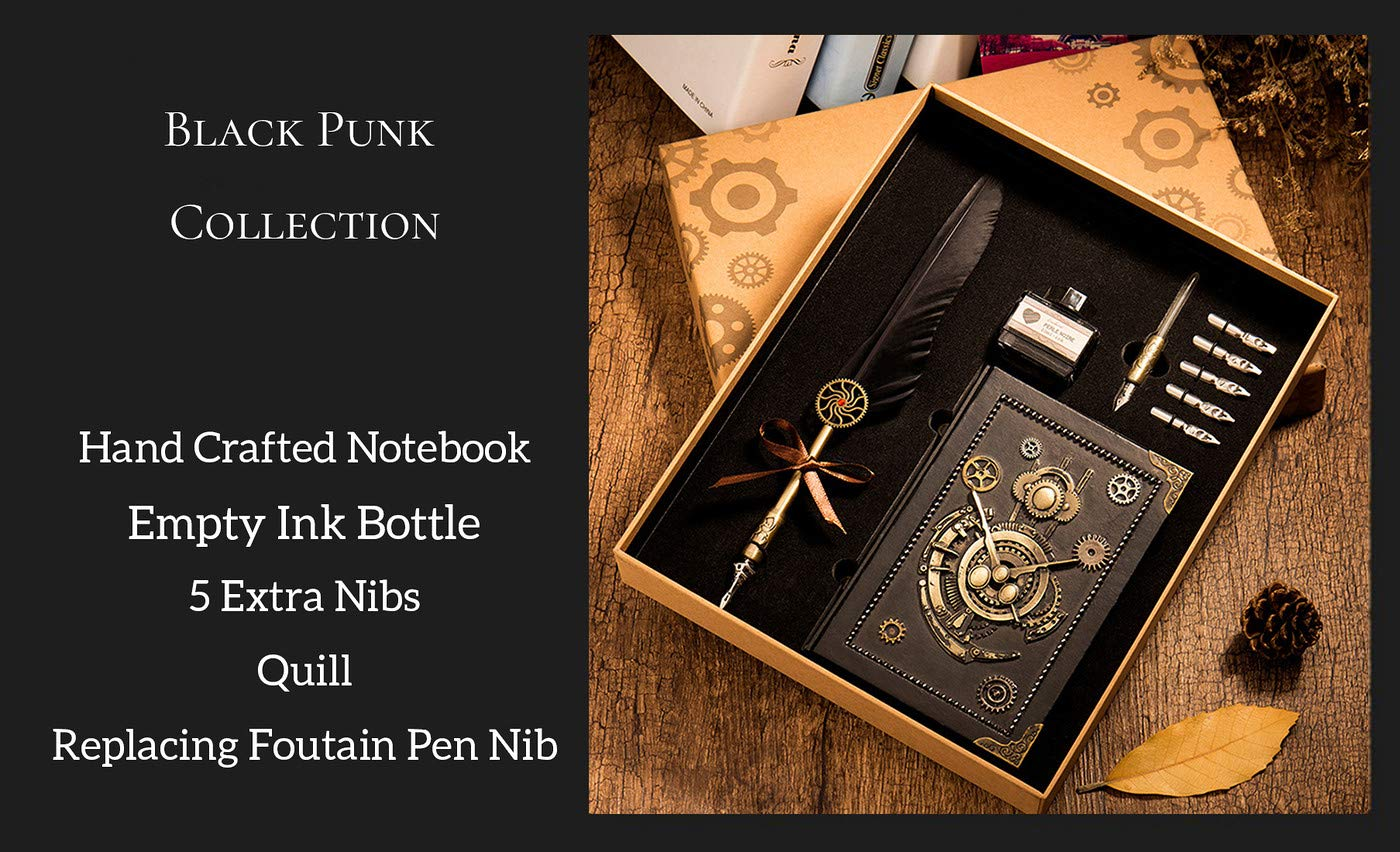 HENHEN Feather Quill Pen Set - 100% Hand Craft - Steampunk Quill Pen and Notebook Set, in Gift Box by HENHEN (Image #6)