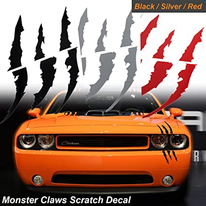 Amazon Com 1x Die Cut Monster Claws Scratch Headlight Decal Vinyl