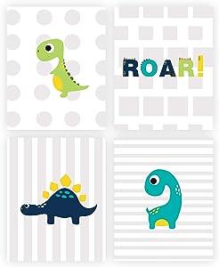 Kids Dinosaur Art. Nursery Wall Art. Kids Room Cartoon Decor. 4 Set (8x10). UNFRAMED