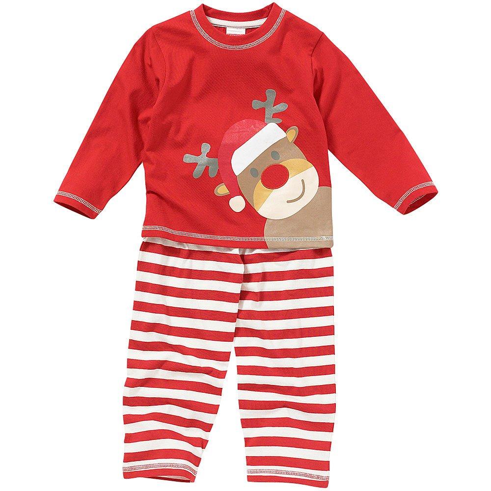 Childs Boys Girls Cute Christmas Reindeer Striped Pyjamas