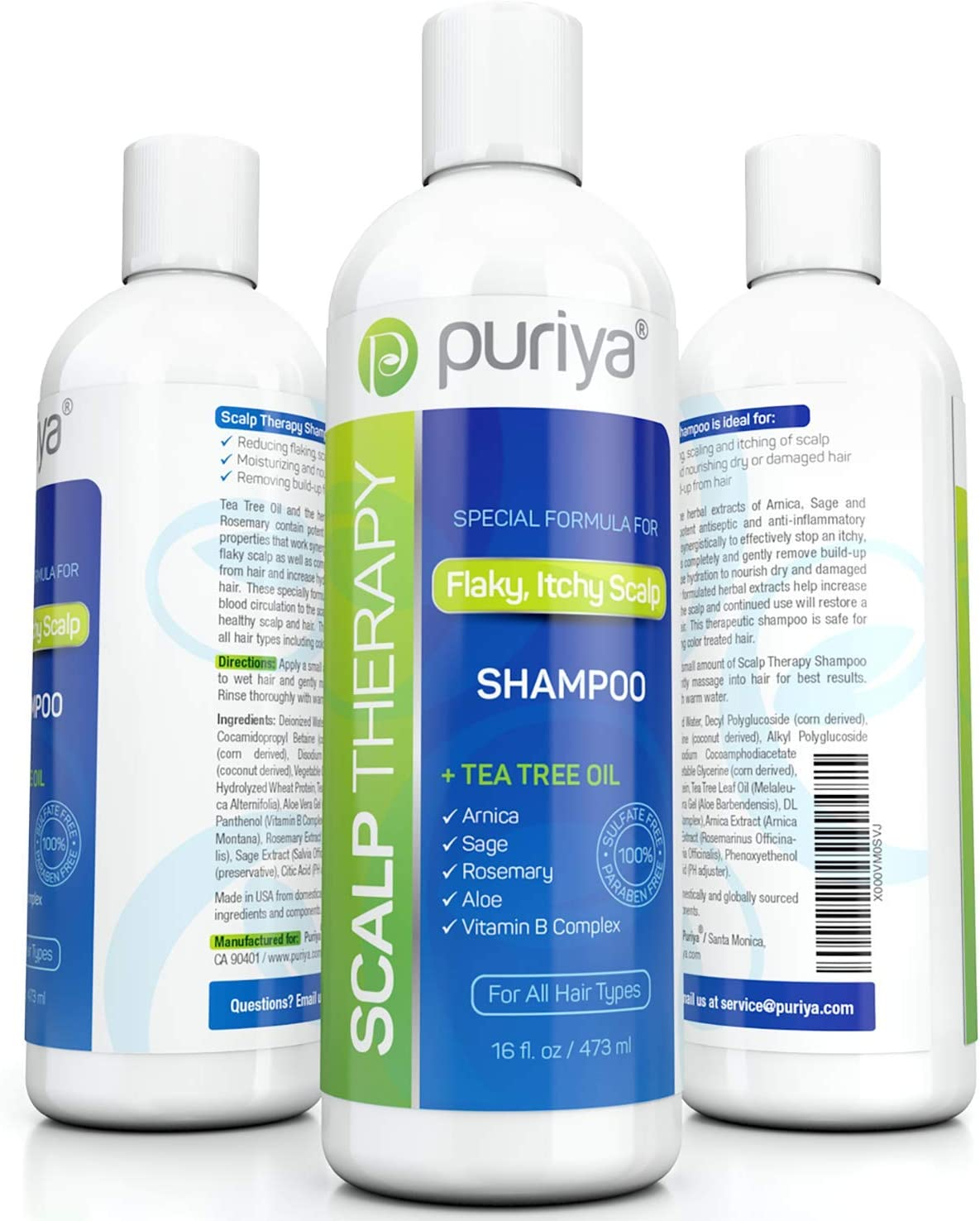 Puriya Sulfate Free Tea Tree Oil Shampoo for Flaky Dry Scalp