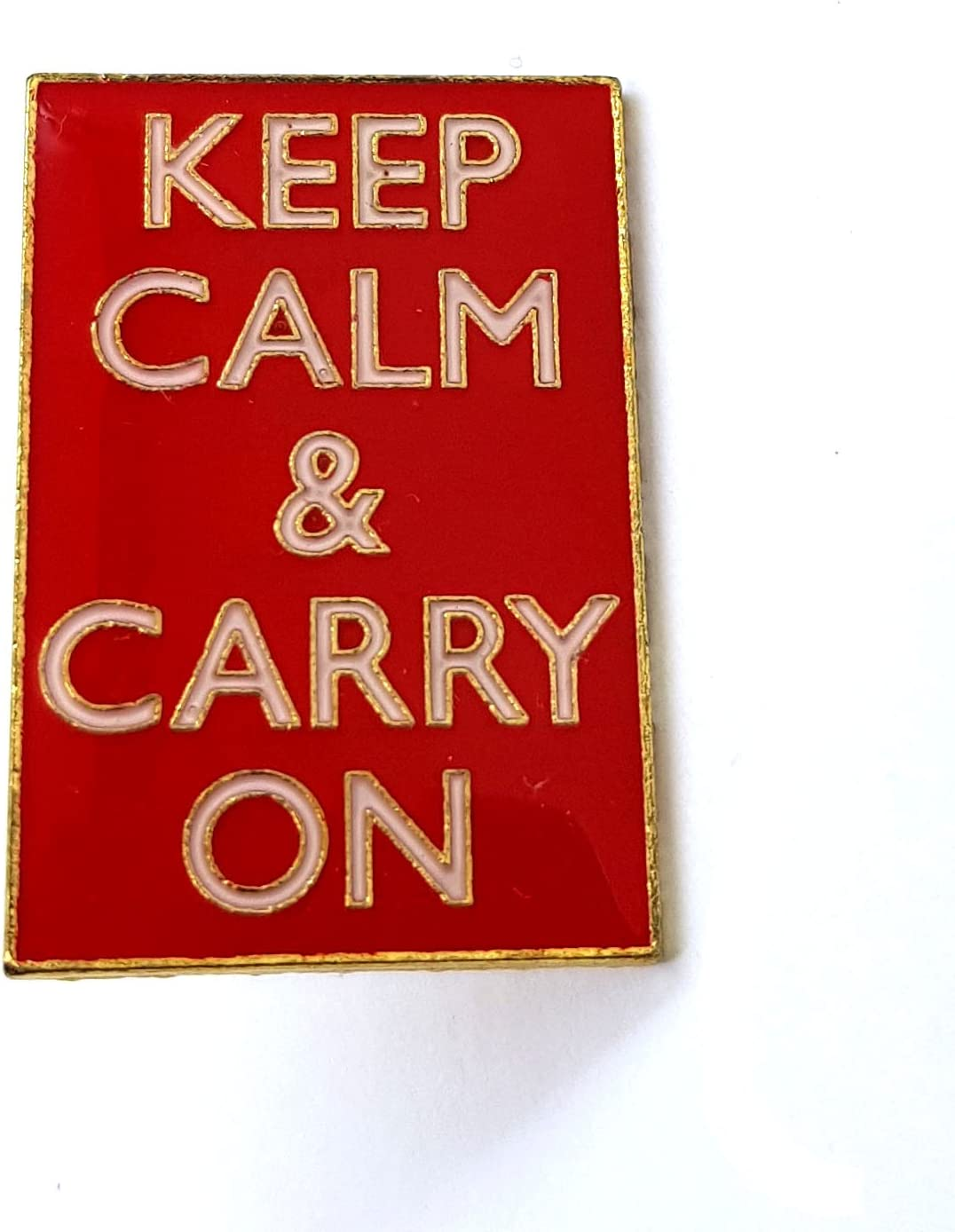 British KEEP CALM and CARRY ON Pin Badge Metal Enamelled WW2 Poster Accessory