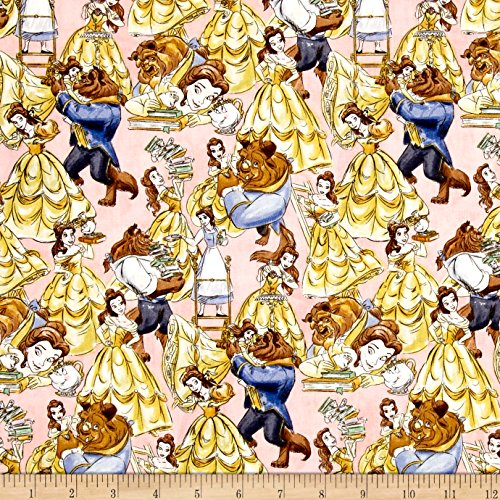 (E. E. Schenck Disney Beauty Belle and The Beast Packed Multi Fabric by The Yard, Multicolor )