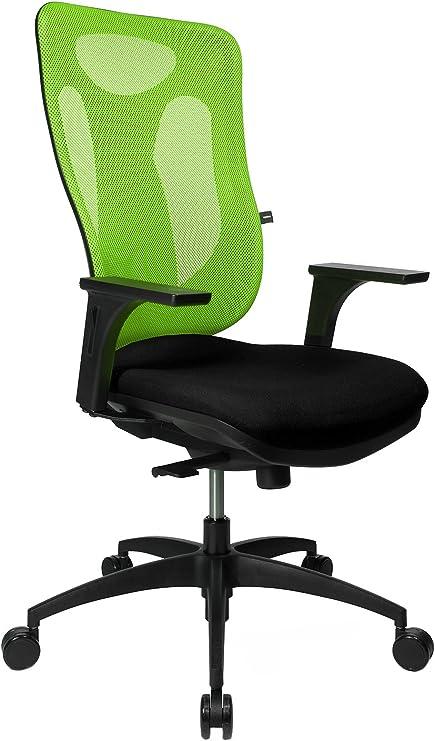 Topstar Net Pro 100 inklusive höhenverstellbaren Armlehnen Bürostuhl, Stoff, schwarz grün, 59 x 56 x 120 cm
