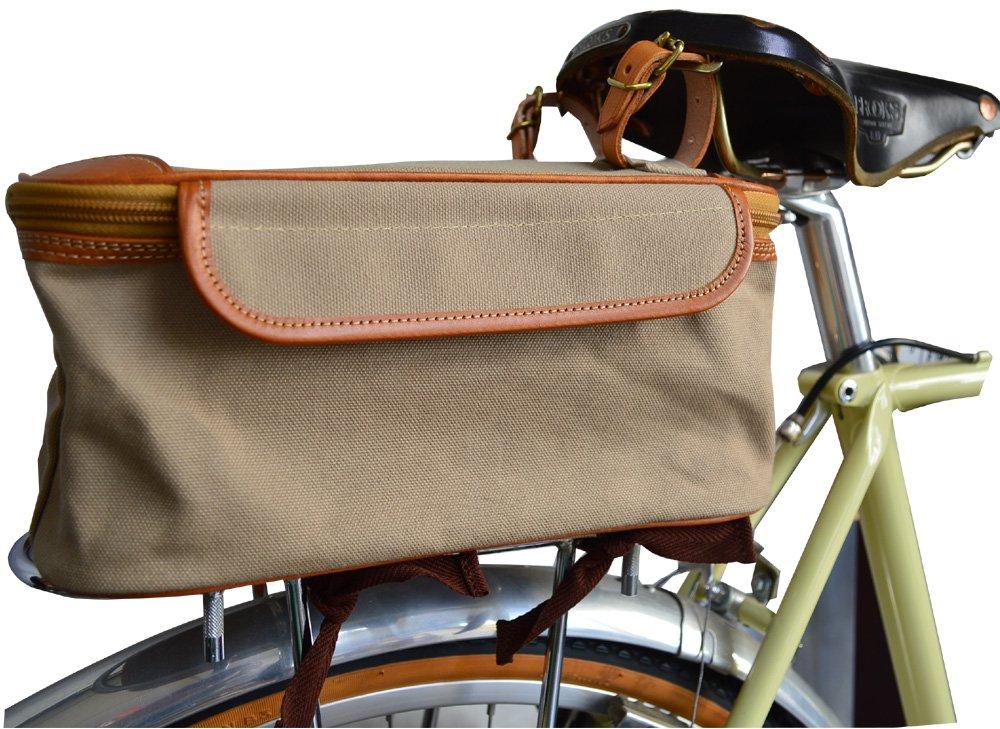 グーワタナベ(guu-watanabe)サドルバッグ 自転車 四角 帆布 色ベージュ 牛革   B06WWJ666L