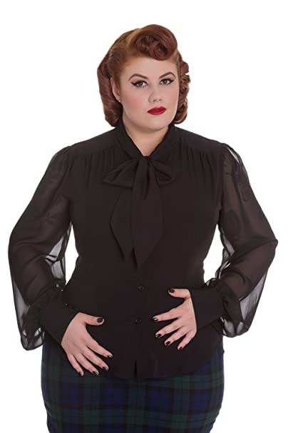 60s 70s Plus Size Dresses, Clothing, Costumes Hell Bunny Lantern Sleeve Neck Bow Chiffon Blouse $49.95 AT vintagedancer.com