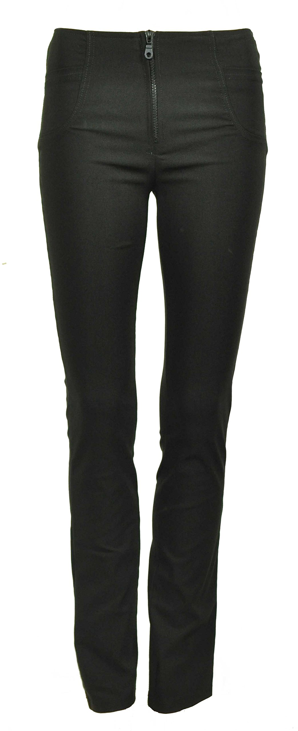 Purple Hanger PurpleHanger Women's Hipster Zip Skinny Leg Fit Pants Black 10 31'' Leg