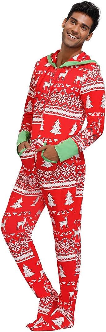 Mens Onesie Jumpsuit Nightwear Zip Hooded Printed All in One Pajama Set Lounge wear