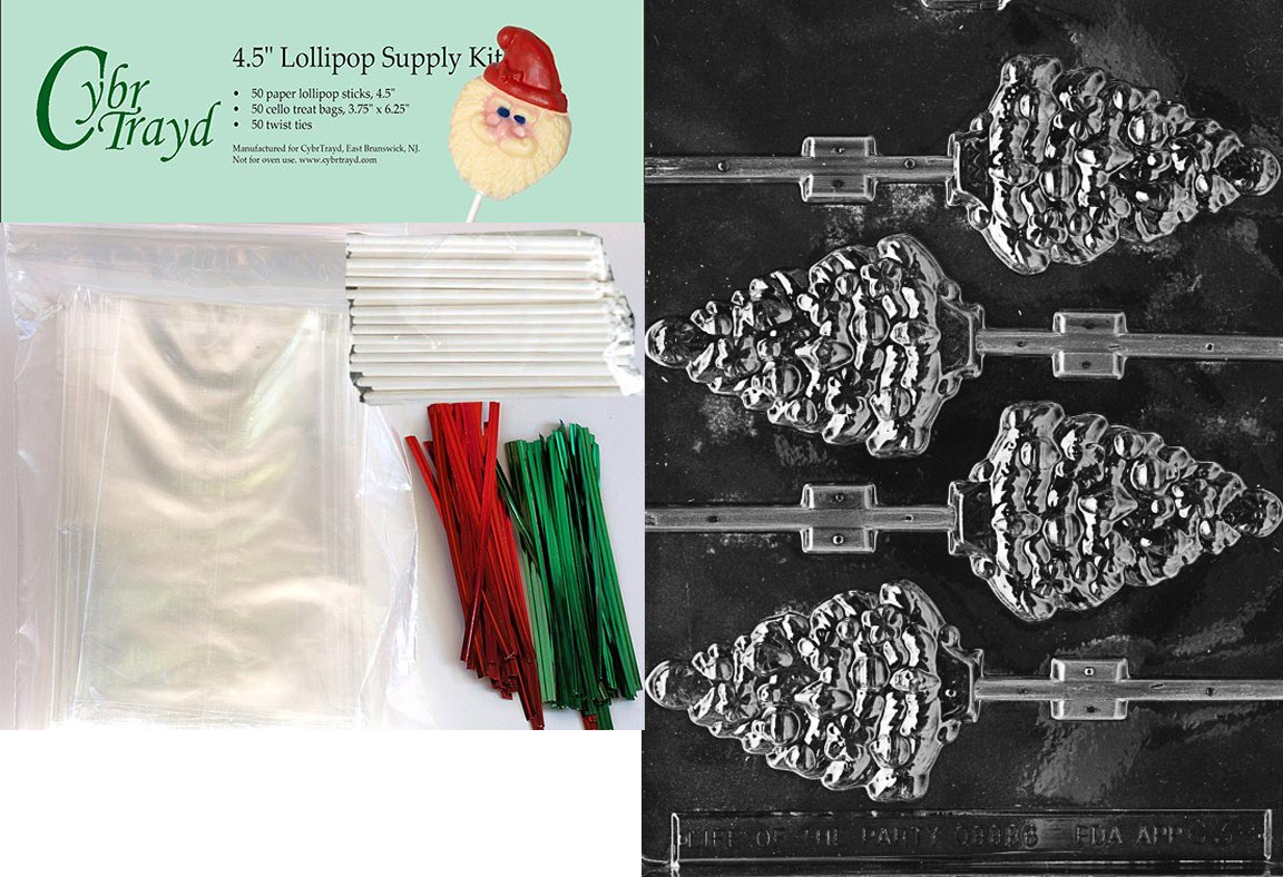 Cybrtrayd C038 Lolly Christmas Chocolate Candy Making Mold Tree