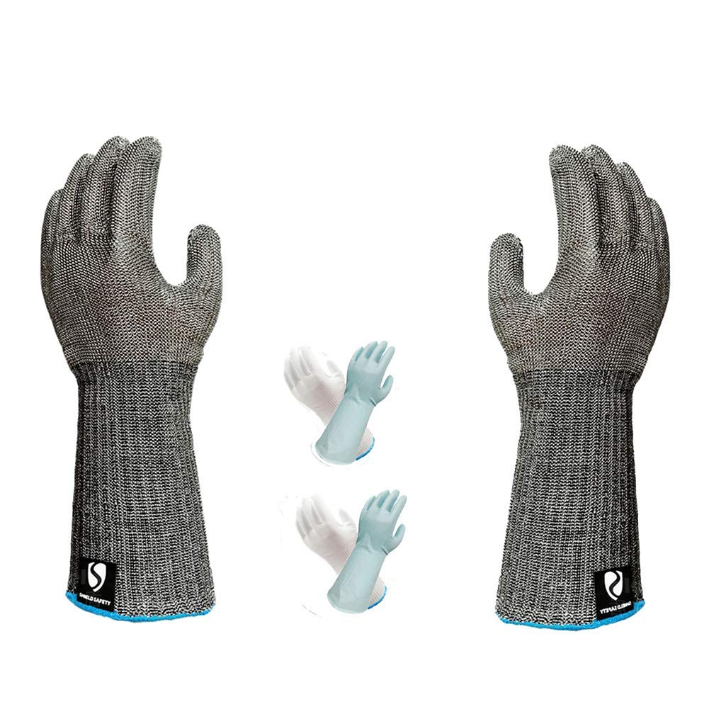 Cut-Resistant Gloves, Level 5 Protection Long Section Stab-Resistant Waterproof Stainless Steel Wire mesh Gloves, Kitchen Cutting Aquatic Products Scratch-Resistant Gloves Metal arm Guards