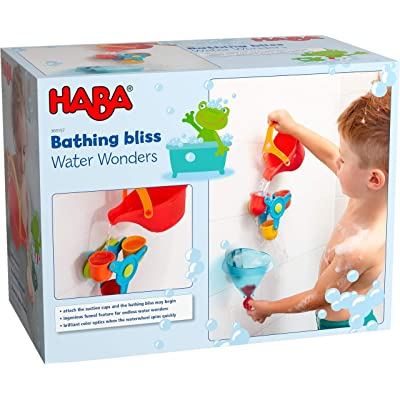 HABA Bathtub Ball Track Bathing Bliss Water Wonders - Waterwheel, Funnel and Watering Can for Endless Pouring Fun!: Toys & Games