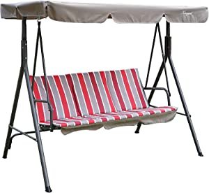 Kozyard Alicia Patio Swing Chair with 3 Comfortable Cushion Seats and Strong Weather Resistant Powder Coated Steel Frame (Red Stripe)