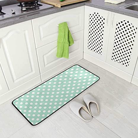 Slhfpx Mint Green Dots Standing Mat Kitchen Rug Anti Fatigue Comfort Flooring Phthalate Free Commercial Grade Pads Waterproof Ergonomic Floor Pad Rugs For Office Stand Up Desk 39 X 20 Inches