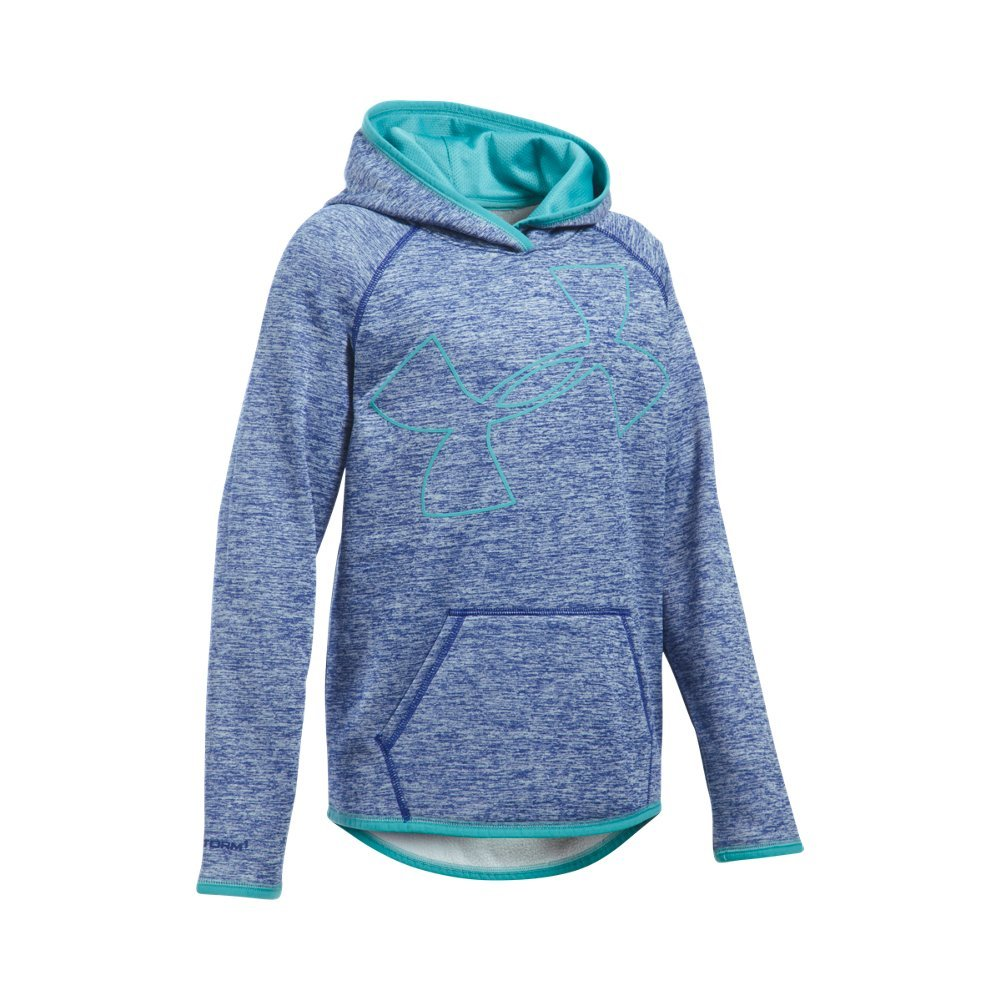 Under Armour Girls' Armour Fleece Novelty Jumbo Logo Hoodie, Caspian (403)/Cosmos, Youth Small