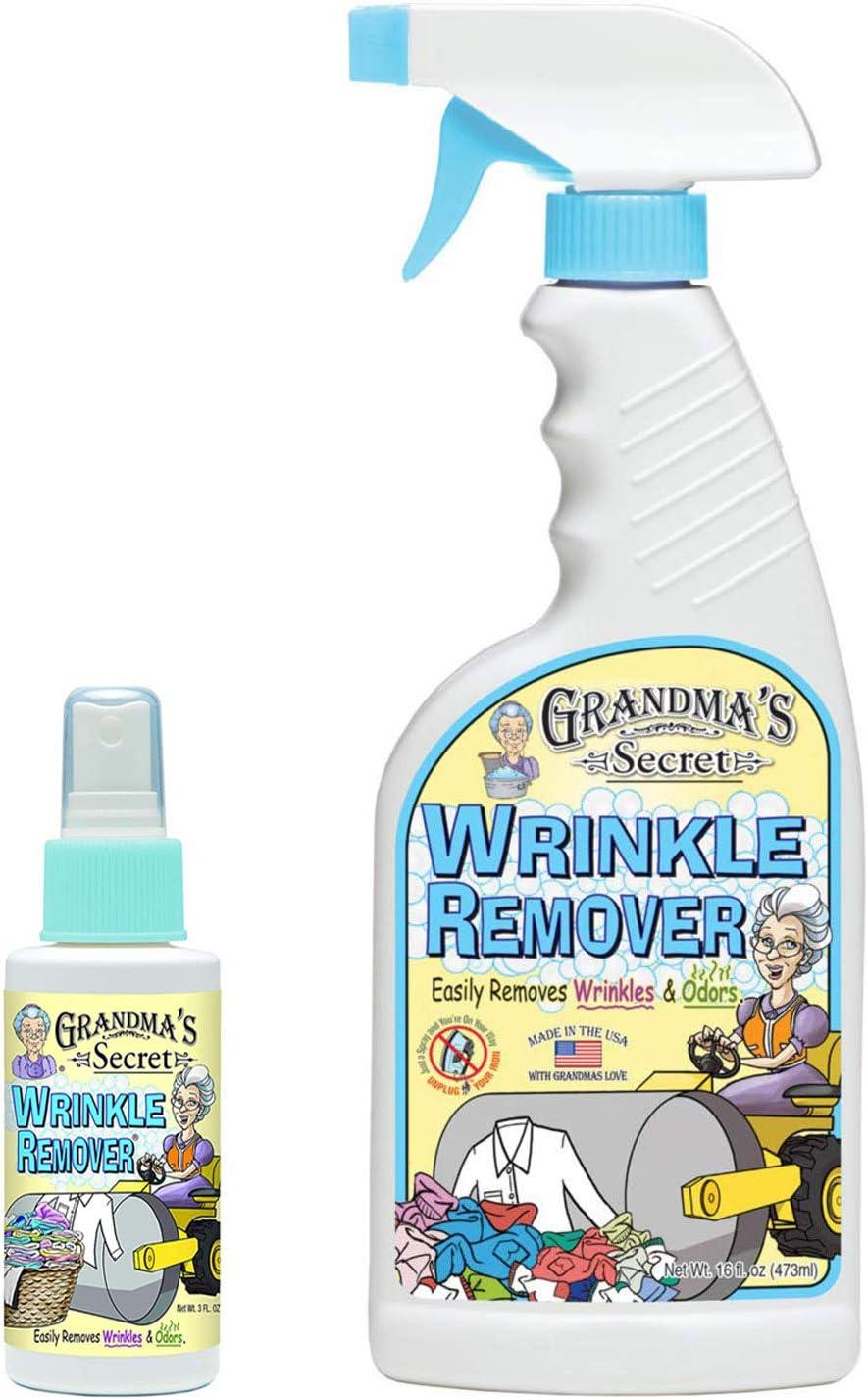 Grandma's Secret Wrinkle & Odor Remover Spray - 16 oz and 3 oz Travel Size Combo