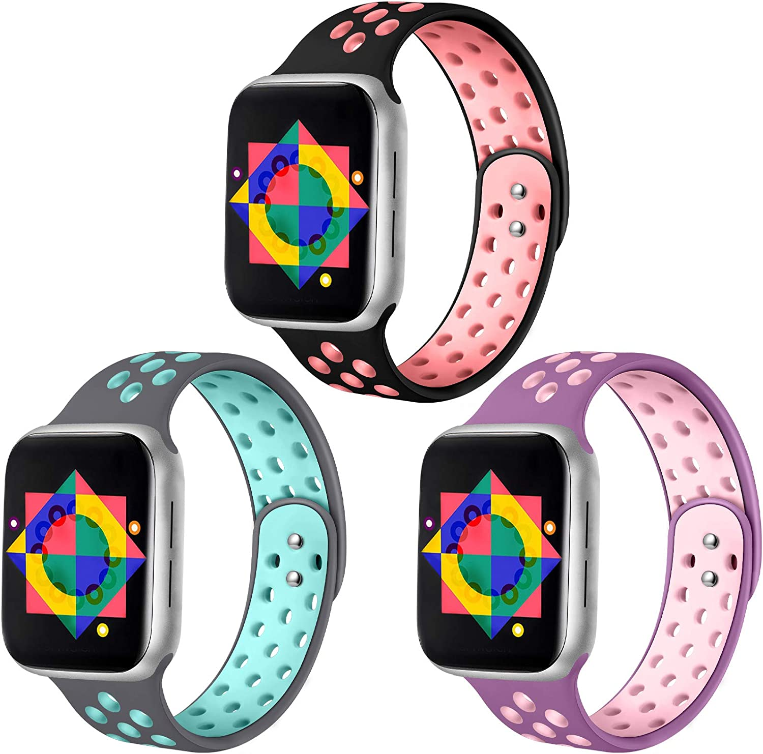 ilopee Compatible for Apple Watch Series 6 5 44mm Bands Womens - Silicone Breathable Wristbands for iWatch Bands 42mm Series SE 4 3 2 1, 3 Pack of Black/Pink, Gray/Teal, Light Purple/Light Pink, M/L