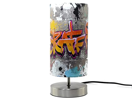 Graffiti Lampe Lumiere Abat Jour Lampe De Bureau Table De Chevet De