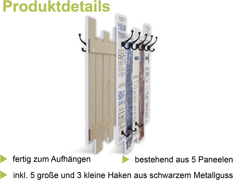 Artland Wandgarderobe Holz Design mit 8 Haken Garderobe Paneel mit Motiv 63x114 cm Kunst Collage Abstrakt St/ädte T/üren Haust/üren bunt T9FG