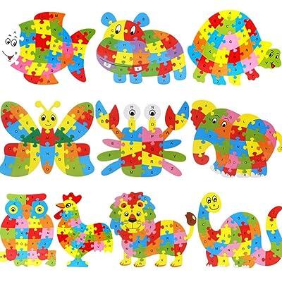 Angelof Lettre de Jigsaw Puzzle animaux en bois bloque Kid Learing jouet éducatif