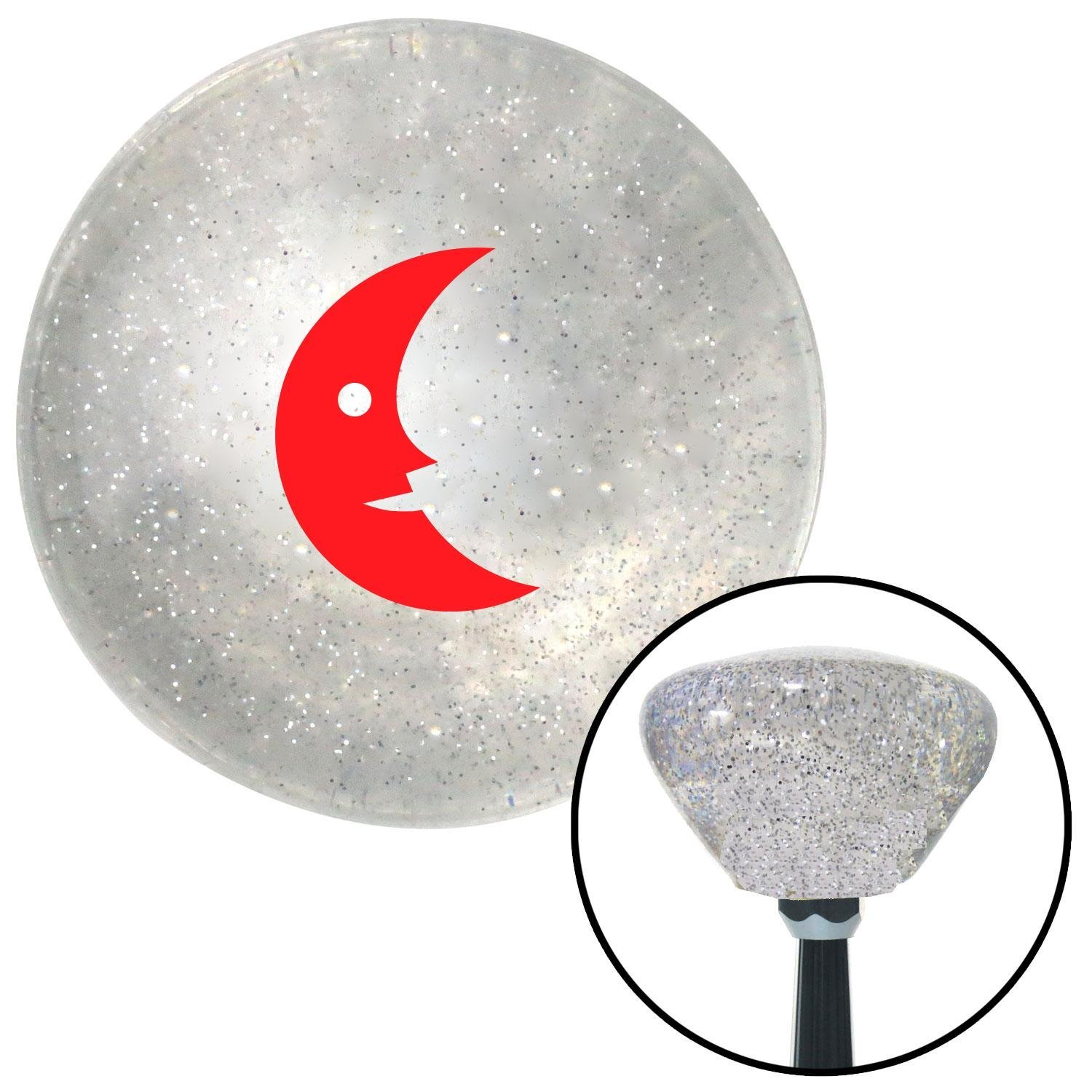 Red Crescent Moon American Shifter 162112 Clear Retro Metal Flake Shift Knob with M16 x 1.5 Insert