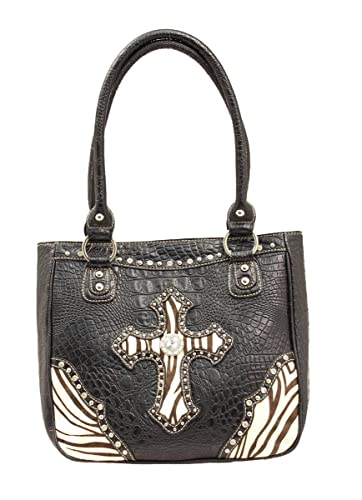 Amazon.com: Blazin Roxx – Zebra Cruz Bolsa de hombro Negro ...