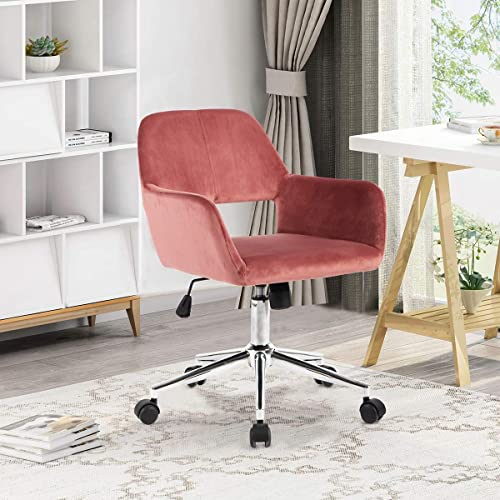 Geniqua Office Chair Rose Pink Velvet Computer Chair Adjustable Mid Height Swivel Seat Gas Lift Modern