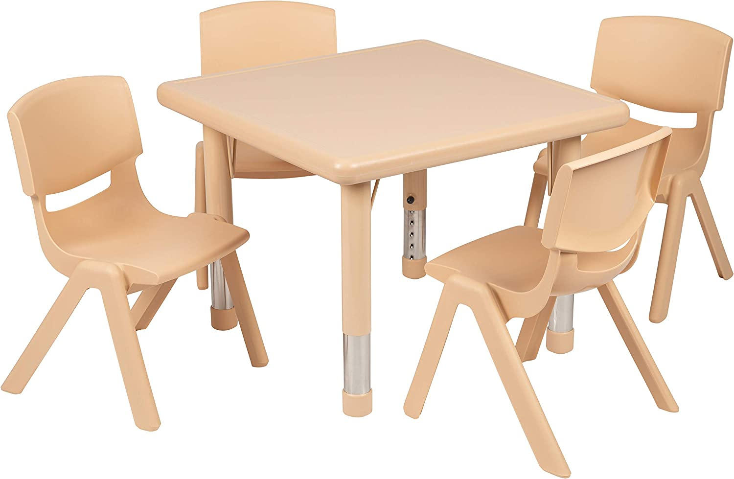 """Flash Furniture 24"""" Square Natural Plastic Height Adjustable Activity Table Set with 4 Chairs"""