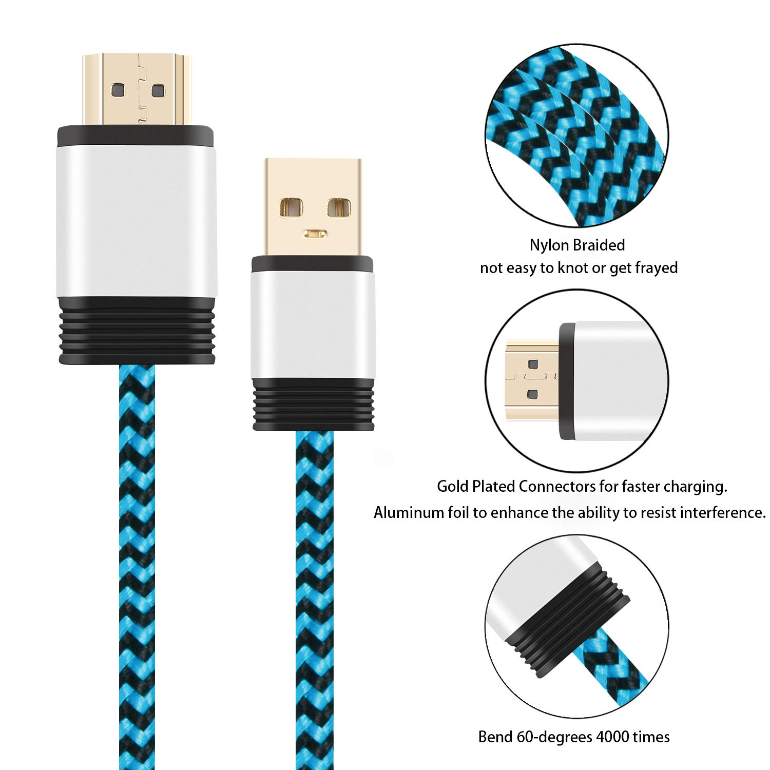 Aluminum Shell, Nylon Braided Yeebline USB 2.0 Type A Male to HDMI Male Charging Adapter Converter Cable Cord 0.5M USB to HDMI Charger Cable