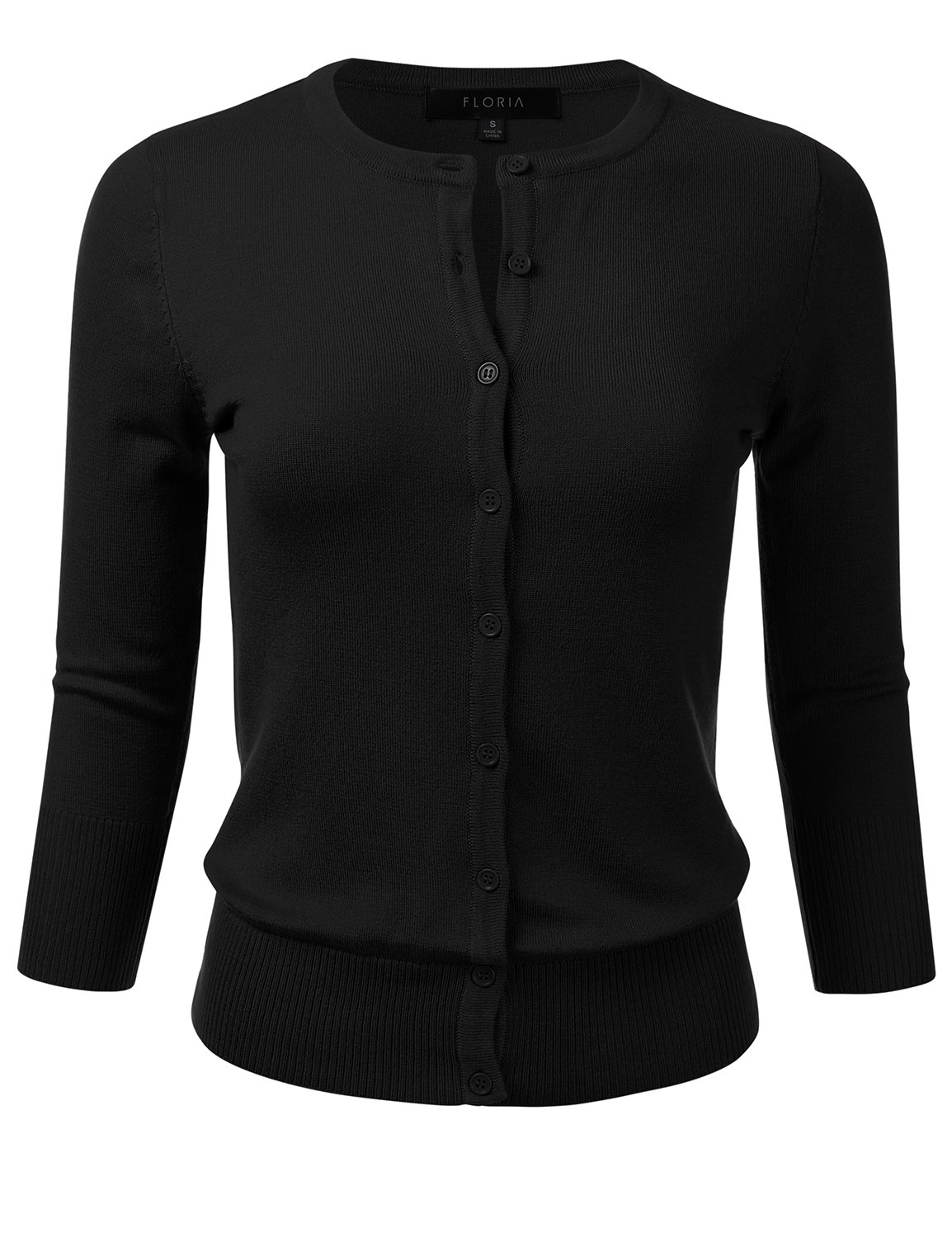 FLORIA Womens Button Down 3/4 Sleeve Crew Neck Knit Cardigan Sweater Black L