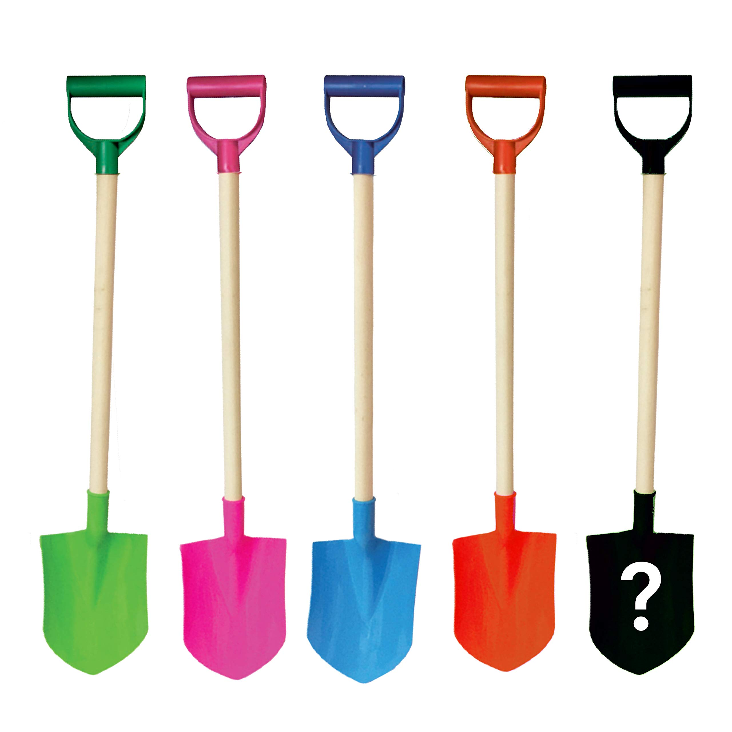 Beachgoer Bulk Pack of 5 32-Inch Plastic Wood Large Heavy Duty Beach Kids Sand Shovels with Reinforced Plastic Handle - 5 Color Pack Blue Pink Green Sand Toys by Beachgoer