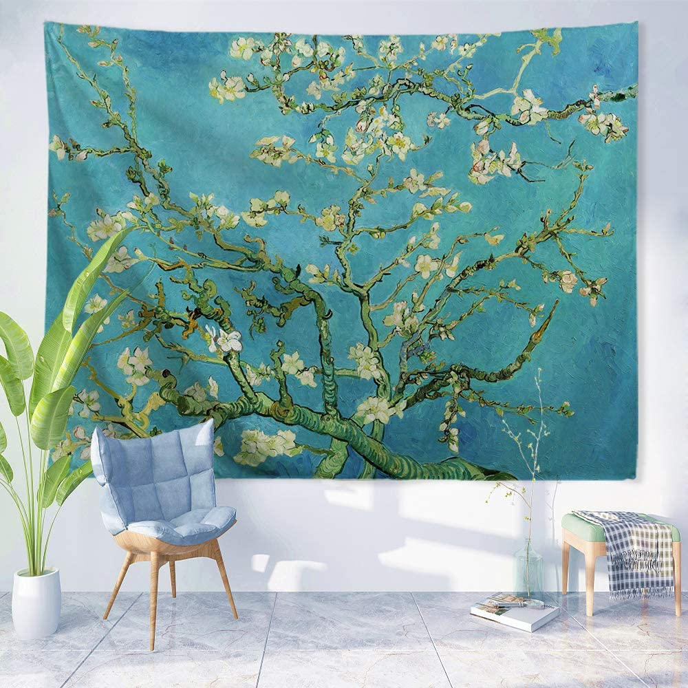 PROCIDA Van Gogh Tapestry Wall Hanging Almond Blossom Oil Painting Nature Plant Floral Wall Art Home Decor for Dorm Bedroom Living Room, 60
