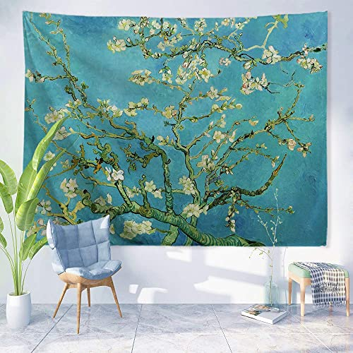 PROCIDA Van Gogh Tapestry Wall Hanging Almond Blossom Oil Painting Nature Plant Floral Wall Art Home Decor for Dorm Bedroom Living Room, 90 W x 71 L, Almond Blossom