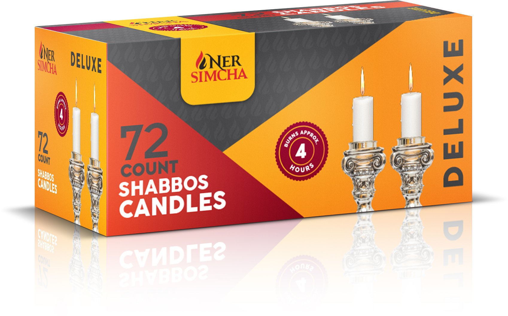 Ner Simcha Dripless Taper Candles 5''inch Tall Shabbat, Wedding, Home & Holiday Decoration, Dinner Candles Set of 72 4 Hour White Shabbat Candles by Ner Simcha