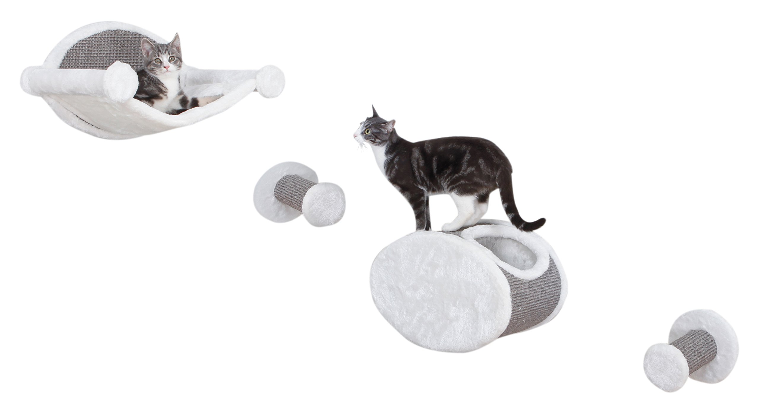 TRIXIE Pet Products Wall Mounted Cat Shelf Gray Lounging Set