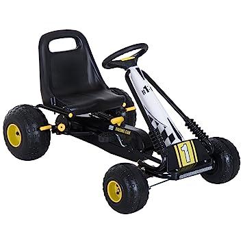 HOMCOM Go Kart Coche de Pedales Racing Deportivo con Asiento Ajustable Embrague y Freno 95x66.