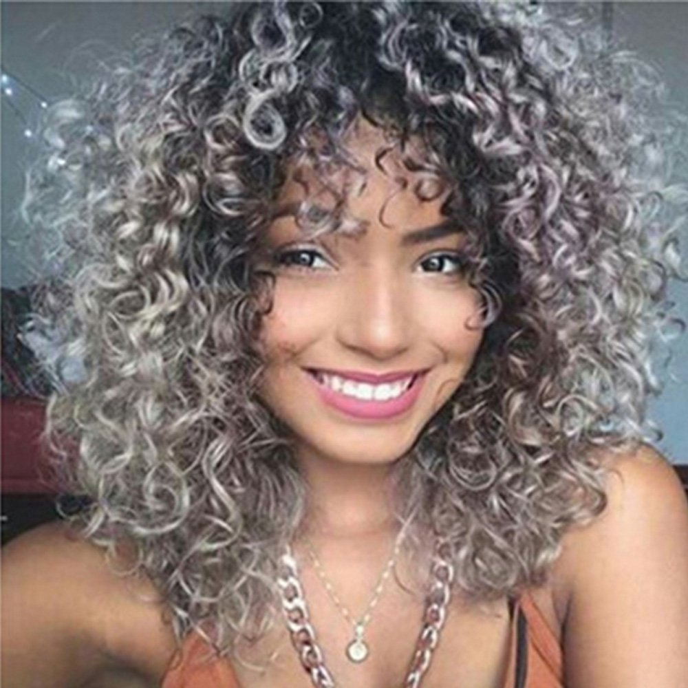 YIMANEILI Afro Kinkys Curly Wigs for Women - Shoulder Length Heat Resistant Synthetic Wigs Dark Roots Silver Gray Wigs with Bangs