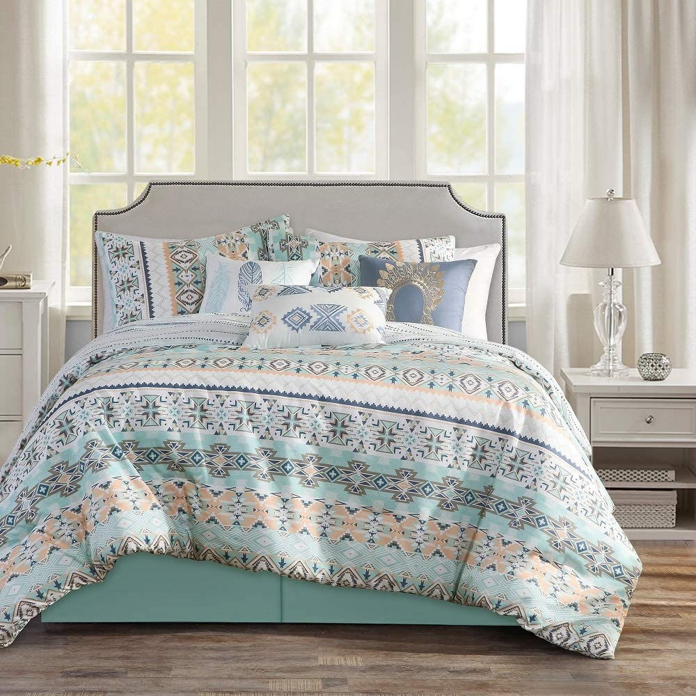 WPM WORLD PRODUCTS MART 7 Piece Southwestern Print Native American Design Comforter Set Multicolor Light Teal/Mint Green White King Size Bed in a Bag Western Navajo Bedding Set- Molly