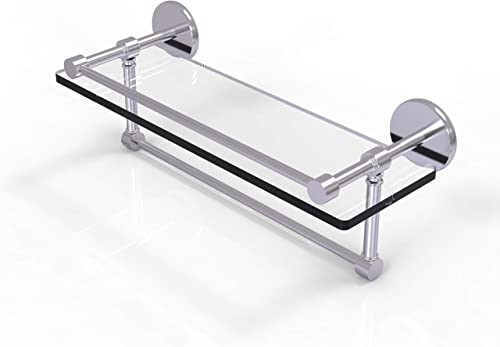 Allied Brass P1000-1TB 16-GAL-SCH 16 Inch Gallery Towel Bar Glass Shelf, Satin Chrome
