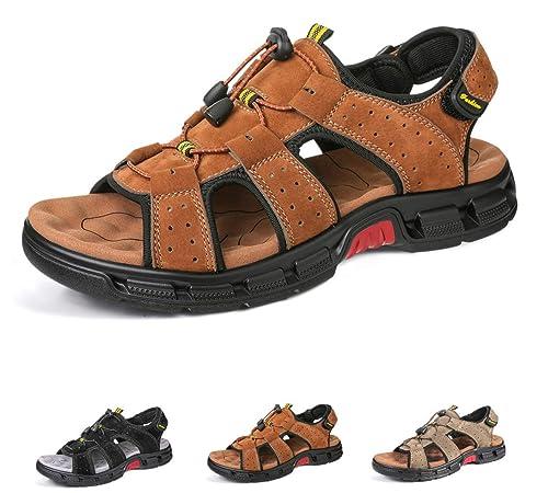 Gracosy Sandales de Randonnée Hommes, Chaussures de Marche Sports Été en Cuir Synthétique Bout Ouvert à Scratch Confortable Légère pour Trekking