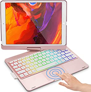 Touchpad Keyboard Case for iPad 10.2 8th 2020 & 7th Generation 2019, iPad Air 3 2019, iPad Pro 10.5 inch, 360 Screen Rotate, with Pencil Holder - Rose Gold