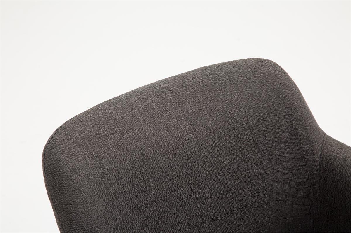 CLP Sedia da Pranzo Debbie Tessuto Poltroncina Design Imbottita con Braccioli I Sedia 4 Gambe in Legno di Quercia I Sedia Visitatore o Soggiorno Portata Max 150 kg Nero Bianco