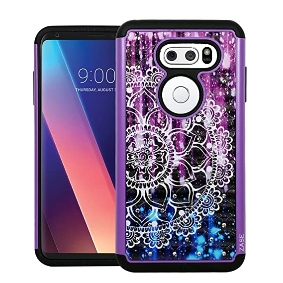 low priced d2832 eb9c1 LG V30, LG V35, LG V30+ (AT&T T-Mobile Verizon Sprint) Hybrid Dual Layer  Protection Jewel Rhinestone [Shock Resistant Defender] Hard Shell Crystal  ...