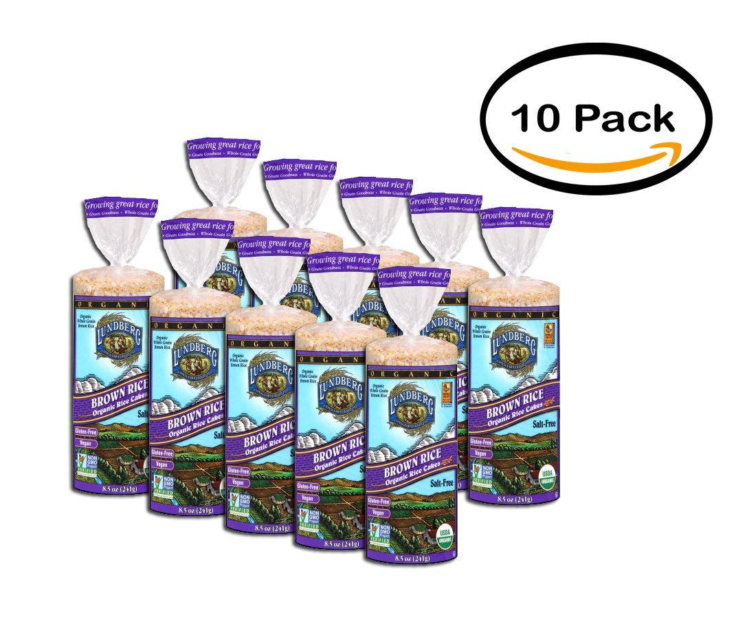 PACK OF 10 - Lundberg Brown Rice Organic Rice Cakes 8.5 oz. Bag