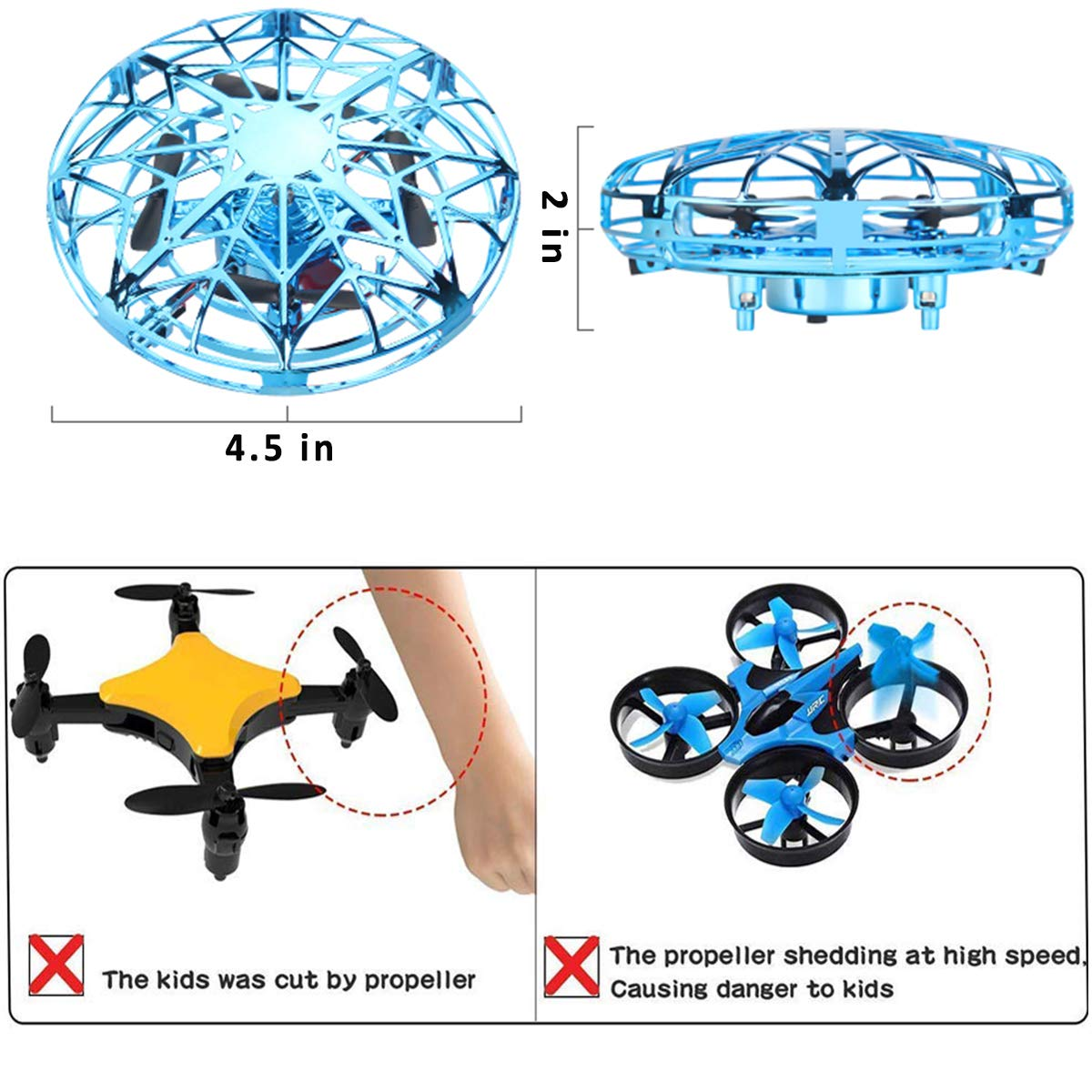 Flying Toy Ball Rc Toys Induction Flying Toy Mini Drones Helicopter Airplane with LED Lights Hand & Remote Controlled for 3+ Kids Girls Boys Indoor and Outdoor Gifts for Birthday (Flying Ball UFO) by HDsuit (Image #3)