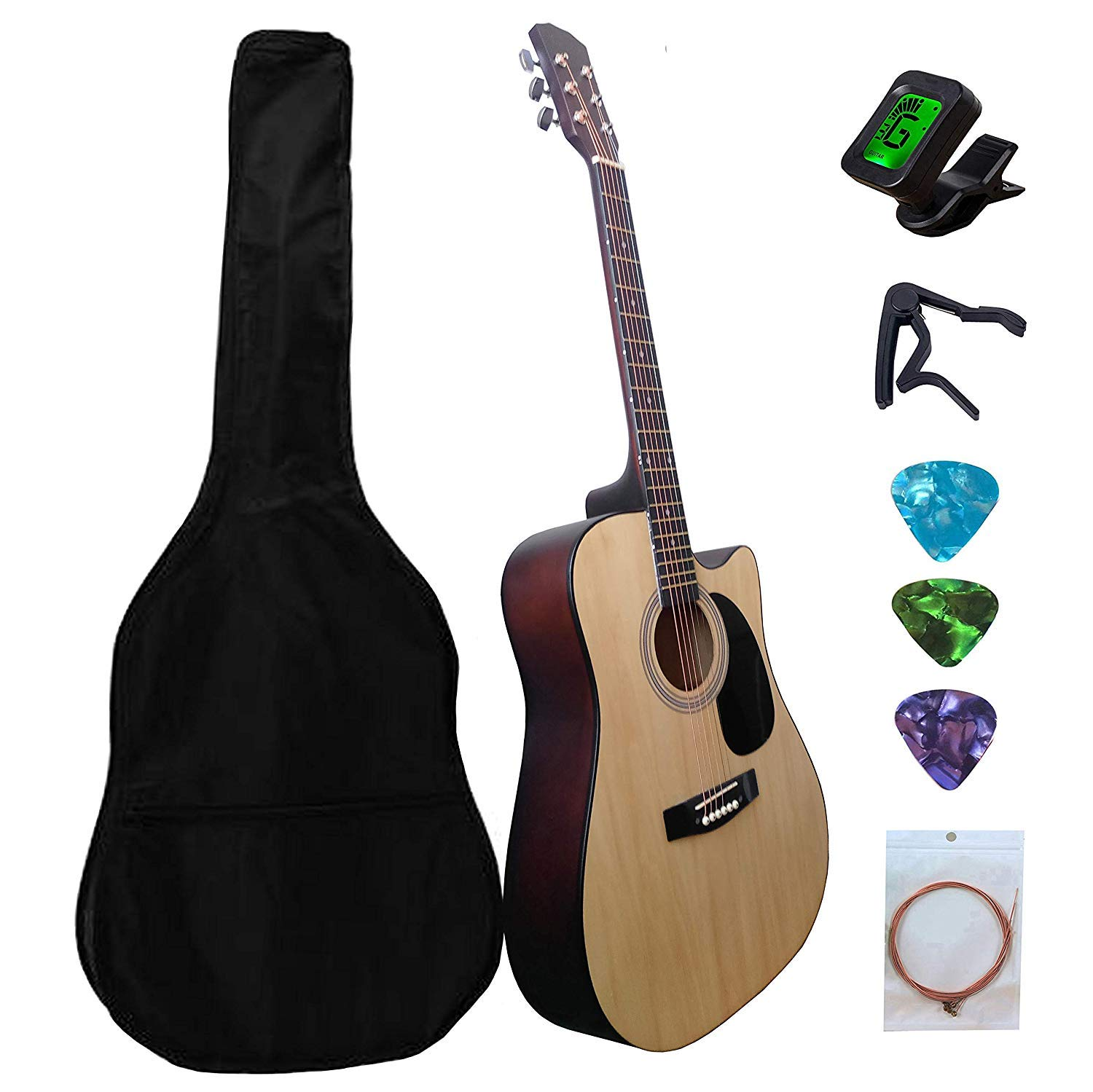 NiGHT LiONS TECH 41inch Natural Wood Acoustic Guitar Starter Kit with Gig Bag, Tuner, Picks, Extra Strings for Beginners by NiGHT LiONS TECH