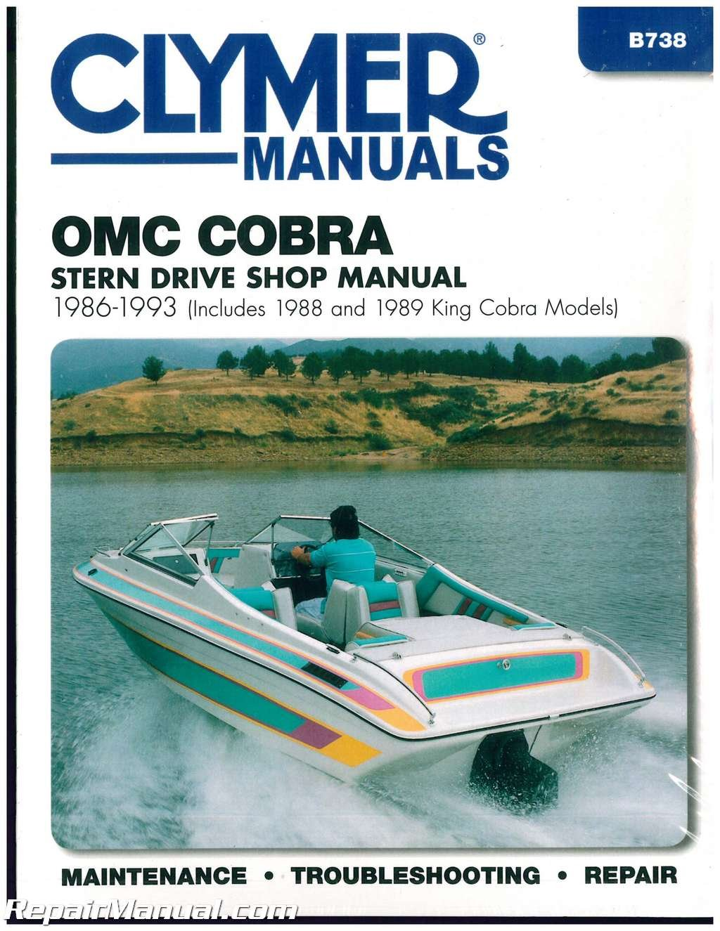 B738 Clymer Omc Cobra 1986 1993 Stern Drive Boat Engine Repair 1989 Ignition Wiring Diagram Manual Manufacturer Books