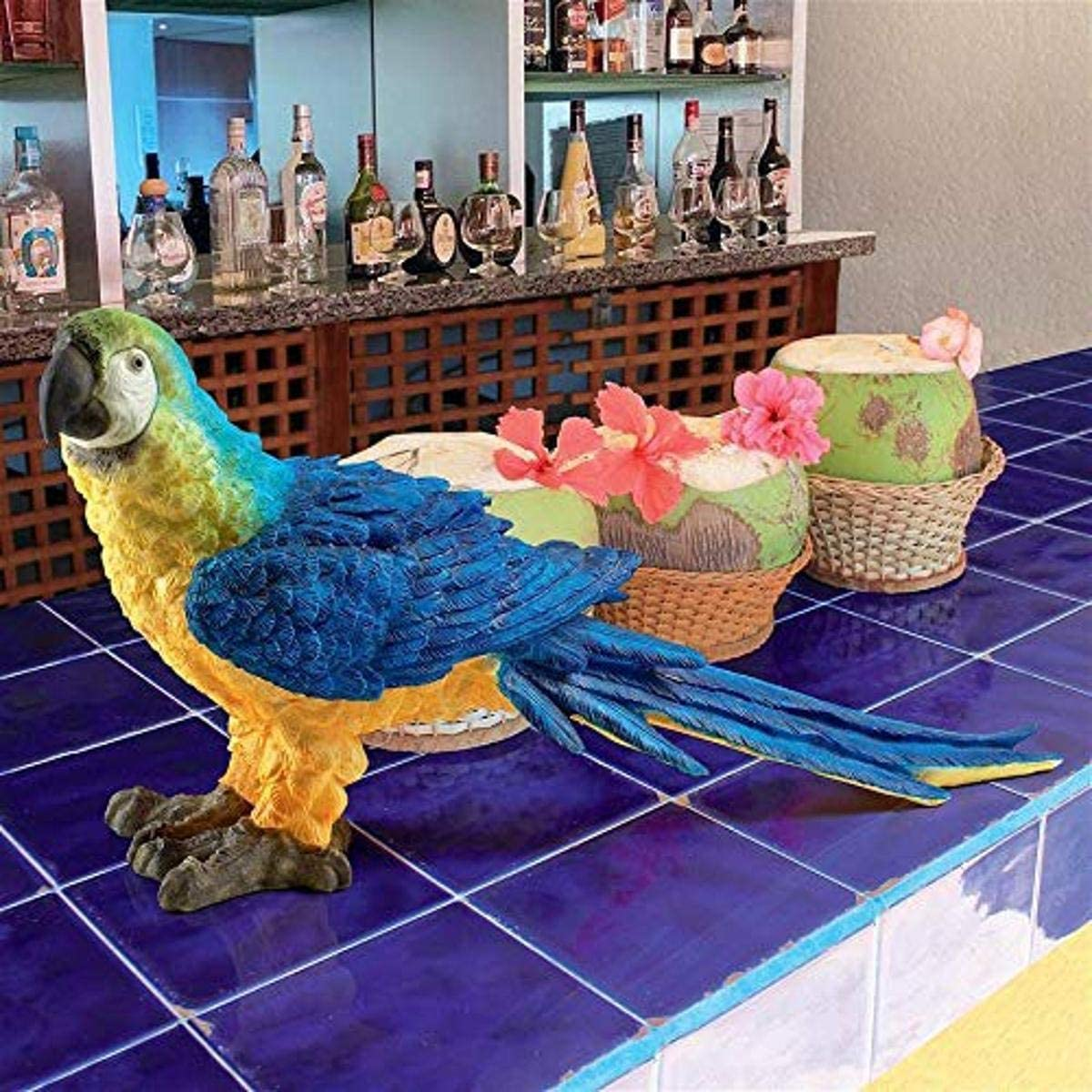 Design Toscano JQ5998 Mortimer The Macaw Tropical Parrot Statue, Full Color