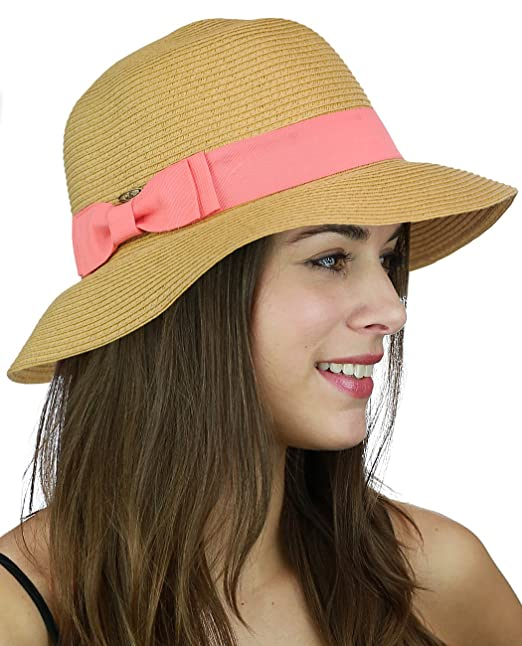 6bcf206d C.C Women's Paper Woven Cloche Bucket Hat with Color Bow Band, Coral ...